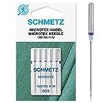 SCHMETZ Nähmaschinennadeln: 5 Microtex-Nadeln, Nadeldicke 60/08, 130/705 H-M, auf jeder gängigen Haushaltsnähmaschine einsetzbar, geeignet für besonders dichtes, feines Gewebe