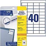 AVERY Zweckform 4780 Universal Etiketten (1.000 plus 200 Klebeetiketten extra, 48,5x25,4mm auf A4, Papier matt, individuell bedruckbar, selbstklebende Aufkleber mit ultragrip) 30 Blatt, weiß