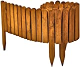 Floranica Flexibeler Beetzaun 203 cm (kürzbar) aus Holz als Steckzaun Rollboarder, Beeteinfassung, Kanteneinfassung, Rasenkante oder Palisade - wetterfest imprägniert, Farbe:braun, Größe:20 cm