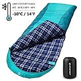 Bessport Schlafsack 3-4 Jahreszeiten Winter | Wasserdichter Deckenschlafsack | 100% Sprüh Gebundene Baumwolle Füllung - für Camping, Reisen und Outdoor (Green)