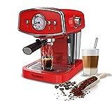 19 Bar Retro, Siebträgermaschine für Kaffee & Espresso, Milchaufschäumer, Espressomaschine, Kaffeemaschine, Cappuccino Rot