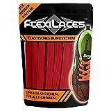 FLEXILACES - elastische Schnürsenkel | nie Wieder Schuhbänder binden - ROT