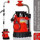Grizzly Regenfasspumpe TRP 5200 L (Tauchpumpe mit 350 Watt Motor, Fördermenge 5200 l/h. Tauchtiefe 7 m, Automatische Selbstabschaltung, Geräuscharm)