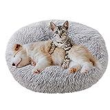 Eastlion Haustierbett Rund Plüsch,Hundebett Donut Kissen Warme Flauschig Weich,Schöne Katzenbett Waschbar Schlafen Bett für Welpen Katzen Hunde,Groß (Hellgrau,L:70CM)