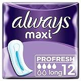 Always Maxi Profresh Long Damenbinden ohne Flügel 8er-Pack (96 Stück) super saugfähig mit SecureGuard-Auslaufschutz, neutralisiert Gerüche, KomfortFit und InstantDry-Technologie, 8 x 12 Einlagen