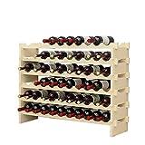 DlandHome 6 Ebenen für 60 Flaschen Weinständer Wein Weinregal Flaschenregal Holz für Bar, Küche, 100x30x81cm
