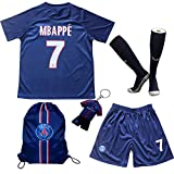 TMB Apparel 2019/2020 Paris #7 K. MBAPPE Heim Kinder Fußball Trikot Hose und Socken Kindergrößen (Heim, 24 (7-8 Jahre))