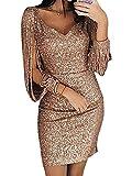 Minetom Robe Femme Couleur Unie Robe Soirée Manches Longues à Franges Robe Cocktail Col Rond Robe Moulante à Paillettes Sexy Slim S/M/L/XL Gold DE 40