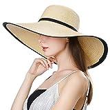Comhats klappbarer Strohhut Sonnenhut beige Strohhut mit Sonnen Shade Damen breite Krempe