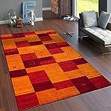Paco Home Teppich Handgewebt Gabbeh Hochwertig Meliert 100% Wolle Kariert Multicolor, Grösse:160x230 cm