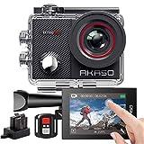 AKASO Sports Kamera/Action Cam 4K WiFi Helmkamera/Unterwasserkamera mit Touchscreen EIS Einstellbarer Weitwinkel mit Fernbedienung 16MP mit 25 Zubehöre EK7000 PRO