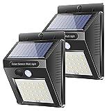 Solarleuchten mit Bewegungsmelder, LED Solarlampen für Außen Garten, IP65 Wasserdicht LED Solarlampe, Karrong 30 LED Solarleuchte Wandleuchte, 2 Stück