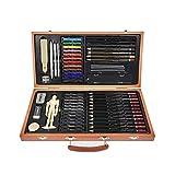FLOWood 58 Stück Bleistift Zeichnen Set,Skizzierstifte Set und Zeichnen Professionelle Art Set mit Hochwertiger Malkoffer aus Holz, zeichnen für Anfänger,Künstler, Kinder