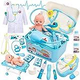 Buyger Kinder Arztkoffer Doktorkoffer Kostüm Arztkittel Medizinisches Spielzeug Rollenspiele ab 3 4 Jahren Jungen (Blau)