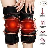 Beheizte Kniebandage Knie Massagegerät zur Gelenkschmerzen Relie, 3 Regelbarer Thermostat&Massage, Einstellbare Größe, Schnelle Erhitzung, Wiederaufladbarer Li-Akku, Eingebaute Netztasche für Kräuter