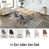 Deuline 4 x Esszimmerstühle Esszimmerstuhl SGS geprüft und Zertifiziert Polsterst Stuhl Stühle Lehnstuhl Oslo+ Beige-Stoffbezug 521209