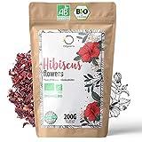 🌺 HIBISKUSTEE BIO 200g Premiumqualität | Hibiskusblüten getrocknet für Tee, Früchtetee, Eistee, Karkade tee | Hibiskus Tee für Drainage Detox-Kur