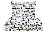Kinderbettwäsche Set Baby Bettwäsche Bettbezug 100 x 135, fur Baby und Kinder, aus Baumwolle (Tiere und Autos)