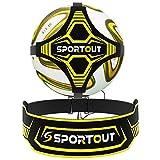 Sportout Fußball Kick Trainer, Freihändiger Solo Fußball Trainer Fußballtrainingshilfe mit erweitertem Seitenbundschutz, beidseitige Anpassung der Gürtellänge, Geeignet für Kinder und Erwachsene
