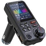 Nulaxy FM Transmitter Auto Bluetooth, 1.8' Bluetooth Adapter Auto mit Starkem Mikrofon für Bessere Freisprechanrufe, Unterstützt QC3.0 Lade, Höhen und Bass Sound Musik Player - KM30