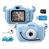 """Kinder Kamera, 2.0""""Display 1080PHD 20MP GREPRO Digitalkamera für 4-14 Jahre alt mädchen und jungen, Anti-Drop Fotoapparat Kinder für Geburtstagsspielzeug Geschenke mit Weiche Silikonhülle 32GB SD Card"""