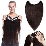 TESS Haarteile Echthaar Extensions günstig 1 Tresse Remy Haarverlängerung mit Draht Haarverdichtung Glatt 16'(40cm)-60g(#2 Dunkelbraun)