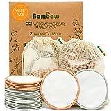 Wiederverwendbare Wattepads | 22 Stück | mit 2 Aufbewahrungs- und Waschbeutel - Bambaw