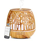 Simpeak Aroma Diffuser 400ml, LED Ultraschall Duftzerstäuber mit Fernbedienung, Essential Öl Aromatherapie Diffusor Tragbar - Geschnitztes Wald, Hellbraun