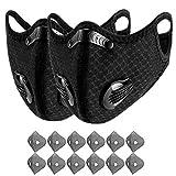 AmyGline Outdoor-Mundschutz mit 6 Aktivkohlefilter,Atemventil,Waschbar,Wiederverwendbare,Gesichtsschutz für Motorrad Radfahren Laufen (Unisex, 2PC+12Filtern)