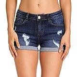 Hocaies Damen Jeansshorts Basic in Aged-Waschung Jeans Bermuda-Shorts Kurze Hosen aus Denim für den Damen Sommer High Waist Denim Kurze Hose mit Quaste Ripped Loch Hotpants Shorts (48, 03 Dunkel Blau)