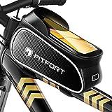 FITFORT Fahrrad Rahmentasche Wasserdicht Lenkertasche Oberrohrtasche Touchscreen handyhalterung mit Kopfhörerloch Reflektierend für Smartphone unter 6,7 Zoll