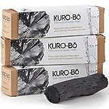 KURO-Bō Binchotan-Aktivkohle-Wasserfilter-Stab, frei von Kunststoff, hält 6 Monate – reinigt Leitungswasser für Kanne, Flasche, Karaffe 3er-Pack