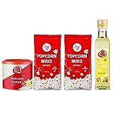 Popcornloop Zutaten Set mit 2x Butterfly Mais 500g, Popcornzucker Vanille 300g und Popcornöl 250ml für Popcorn Zuhause Popcornmaschine
