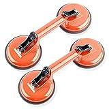 2 Stück Saugheber Aluminium 100kg Glassauger Vakuumheber Glasheber Alu (Orange)