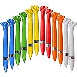 Ausgefallener Kugelschreiber,Oscar' aus Kunststoff - gelb, blau, orange, weiß, rot und grün |blaue Schreibmine| Farbenmix - [12 Stück] Mitgebsel