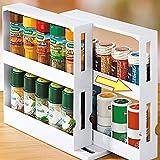 RAIN QUEEN Slide & Swivel Gewürzregal in schmal und ausziehbar für Ordnung im Küchenschrank (Set 1)