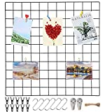 Wandgitter Schwarz(60x60cm),Wanddekor, Aesthetic Deko,Multifunktionale Gitterwand, DIY Eisen Gitter der Fotowand Dekoration .Deko zum Anbringen von Fotos, Postkarten, Notizen usw