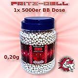 WEILAX Airsoft Softair Kugeln Fritz-Cell Premium BBS 6 mm 0,20g 5000 Stück in praktischem Behälter