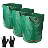 TOPSEAS Gartensack,3er Set Gartensack,300L Gartenabfallsack aus robustem Wasserdichtes Polypropylen-Gewebe (PP) - Selbststehend und Faltbar Laubsäcke,inkl.1 Paar Gartenhandschuhe