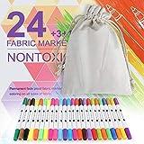 Zacro Textilmarker Fabric Mark Permanente Kunstmarke 24 Set Farbe Double Head Verfügbar für Sichere und Ungiftige, Erwachsene, Kinder sind Verfügbar
