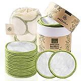 Greenzla Abschminkpads Waschbar (20 Stück) mit waschbarem Wäschesack und runder Box zur Aufbewahrung | 100% Organische Bambus & Baumwoll | Wiederverwendbare Wattepads für alle Hauttypen - Zero Waste