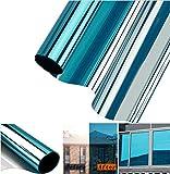 Aoweika Fensterfolie Sonnenschutz Hitzeschutz UV-Schutz Sonnenschutzfolie Fenster Innen Spiegelfolie Fenster Sichtschutz Spiegelfolie Selbstklebend | Blau Silber 60 x 200 cm
