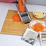 Herefun Küchenreibe Mehrzweck Gemüseschneider Küchenhobel Zwiebelschneider Kartoffelschneider Gurkenhobel Gemüsereibe für Gemüse Früchte und so weiter Edelstahl Multi-Slicer mit 4 Einsätzen (1)