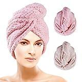 Ponsey Haarturban - Turban Handtuch mit Knopf 2 Stück Mikrofaser Handtuch Superabsorbierender Haarhandtuch Haartrockentuch (Beige und Rose)