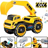 COOLJOY Montage Spielzeug, Elektrisch Multifunktionale Konstruktion Auto LKW, DIY Engineering Lastwagen Bagger Vehicle mit Licht&Ton, Lernspielzeug Kleinkind Baustelle Kinder Spielzeug ab 4 Jahre