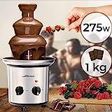 Schokoladenbrunnen 275W - 3 Etagen, Max. Kapazität 1 kg Schokolade, Edelstahl, Spülmaschinengeeignet, Silber - Schokobrunnen, Schokofondue, Schokoladenfontaine