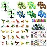 YIKANWEN Dinosaurier Spielzeug Set,Mini-Dinosaurierfiguren Ei Maske Schnapparmband und Tattoo Aufkleber,Dinosaurier Spielzeug Groß für Kinder im Alter von 4 5 6 +