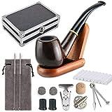 Joyoldelf Tabakpfeife Set & einzig schön Tabakpfeifen Box Tabakpfeife aus Holz mit Pfeifendeckel, Pfeifenständer, Pfeifenputzer und Pfeifenzubehör