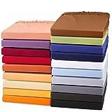 aqua-textil Exclusiv Spannbettlaken 180x200-200x220 cm Natur Jersey Baumwolle 230g/qm Spannbetttuch Elastan Laken