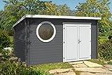 CARLSSON Alpholz Gartenhaus Maria-Rondo aus Massiv-Holz | Gerätehaus mit 44 mm Wandstärke | Garten Holzhaus inklusive Montagematerial | Geräteschuppen Größe: 400 x 300 cm | Pultdach